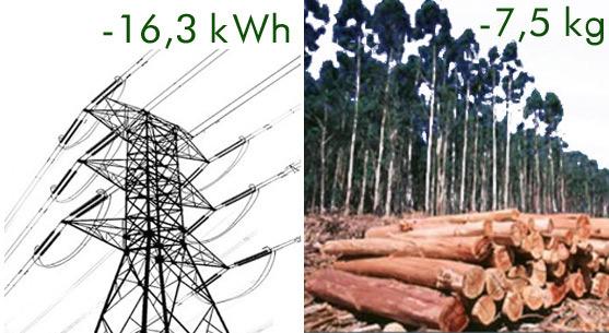 electricidad y madera ahorrados
